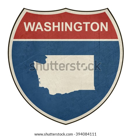 Grunge Washington American interstate highway road shield isolated on a white background. - stock photo