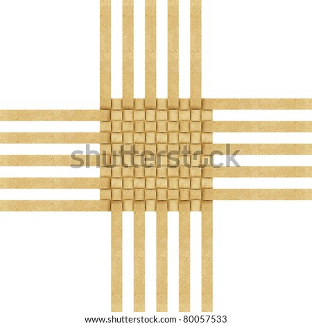 Grunge weave  recycled folded paper craft background - stock photo