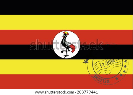 Grunge welcome rubber stamp with date on the flag of Uganda