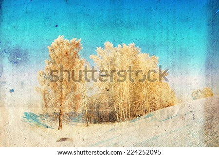 Grunge winter background with birch trees, vintage paper texture - stock photo