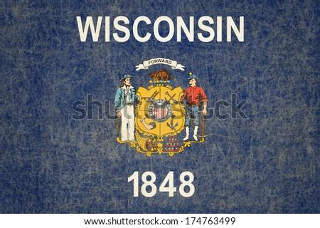 Grunge Wisconsin state Flag - stock photo
