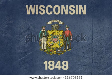Grunge Wisconsin state flag of America, isolated on white background. - stock photo
