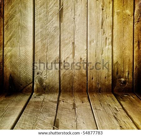 Grunge Wood Interior - stock photo