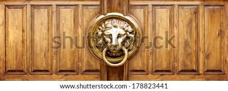 grunge wood panels used as background , Lion Head Door Knocker - stock photo