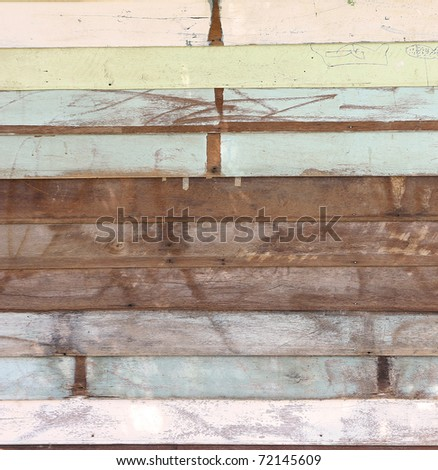 Grunge Wood panels with old painted for background - stock photo