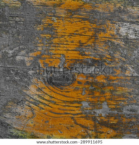 grunge wood texture, grainy old desk background, peeling brown painting - stock photo
