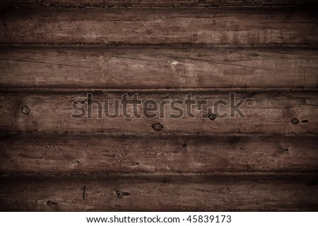 Grunge wooden background, brown wall - stock photo