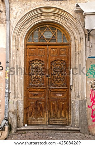 Grunge Wooden Decorated  Door in old House