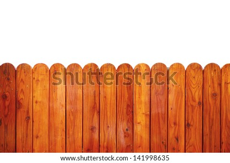 Grunge wooden fence isolated on white, clipping path - stock photo