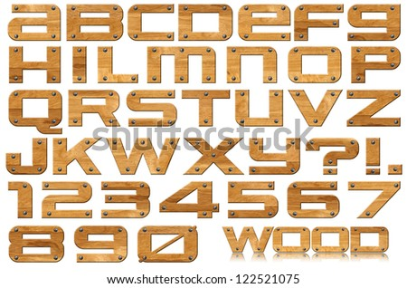 Grunge Wooden Letters and Numbers / Brown grunge wooden alphabet and numbers with screws on white background - stock photo