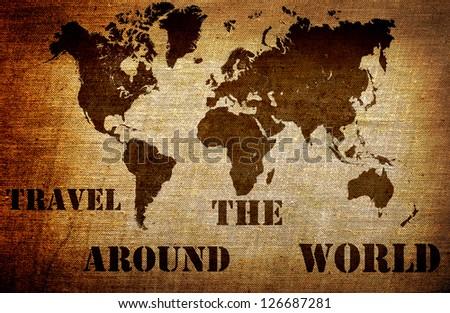 Grunge world map - stock photo