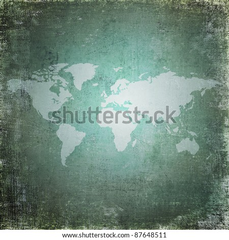 Grunge world map - stock photo
