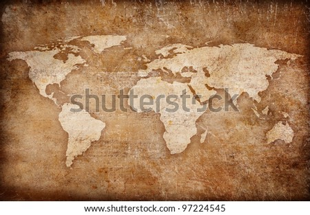 grunge world map background
