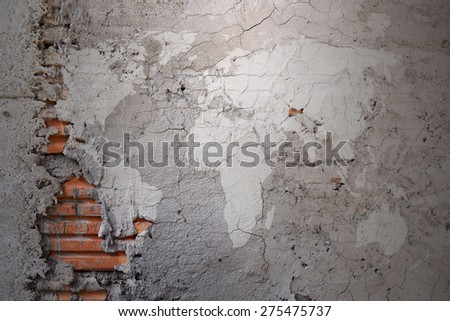 Grunge world map on cracked cement stock photo 275475737 shutterstock grunge world map on cracked cement wall texture background gumiabroncs Gallery