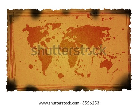 grunge world map on rusty paper background. - stock photo