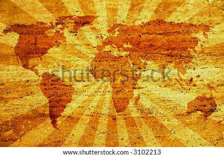 grunge world map on sunbeam background. traced map: http://www.lib.utexas.edu/maps/world_maps/world_pol02.jpg copyright stat: http://www.lib.utexas.edu/maps/faq.html#3.html - stock photo