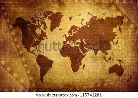 Grunge world map film background stock illustration 115742281 grunge world map with film background gumiabroncs Gallery