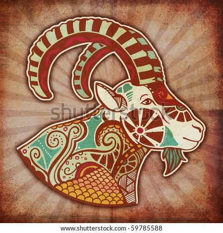 grunge zodiac - capricorn - stock photo