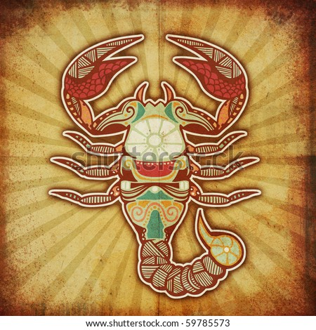 grunge zodiac - scorpio - stock photo