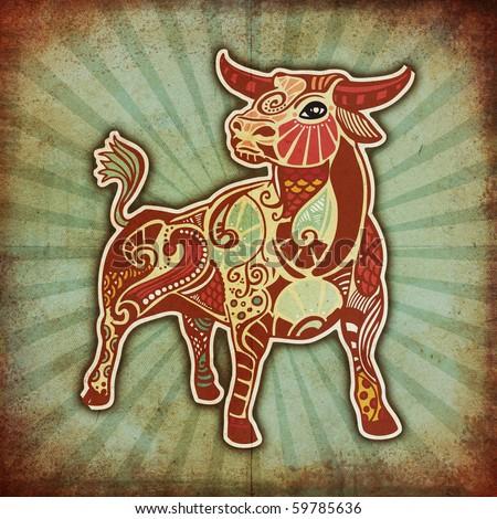 grunge zodiac - taurus - stock photo