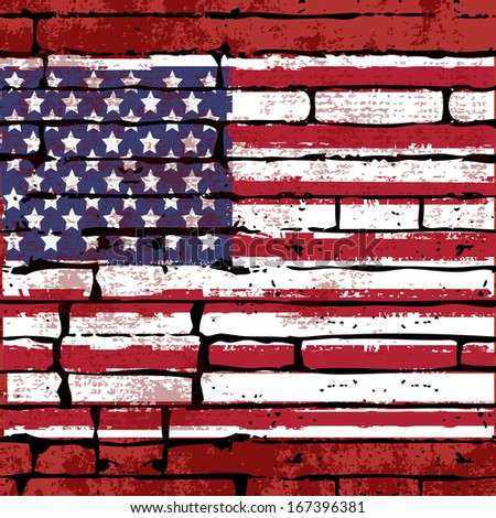Grunged American Flag over a brick wall  background  illustration - stock photo