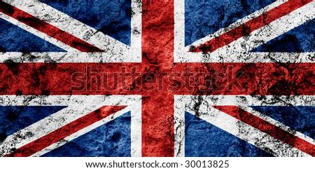Grunged Up UK Flag - stock photo