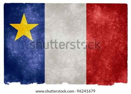 Grungy Acadian Flag on Vintage Paper (where Acadian refers to a French culture in the Eastern provinces of Canada distinct from the French culture of Quebec) - stock photo