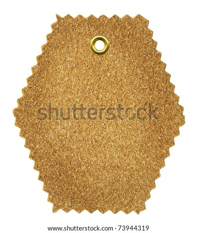 Grungy aged wash-leather tag with metal rivet, isolated on white background - stock photo