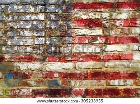 grungy american flag on weathered brick wall, fictional artwork - stock photo