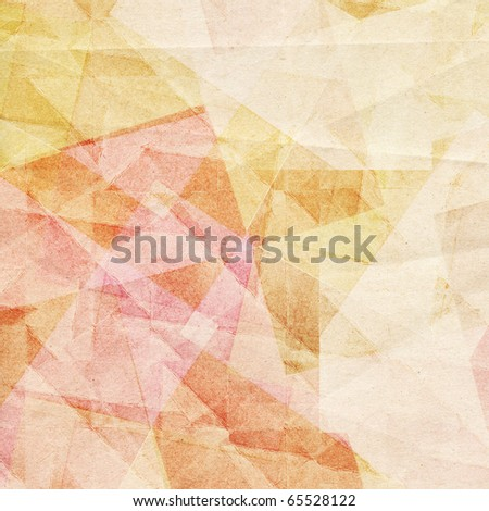 Grungy and grainy bleached abstract  background of pastel colors, made of intersecting geometric figures and vintage paper texture - stock photo