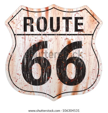 Grungy and rusted route sixty six icon on white background - stock photo
