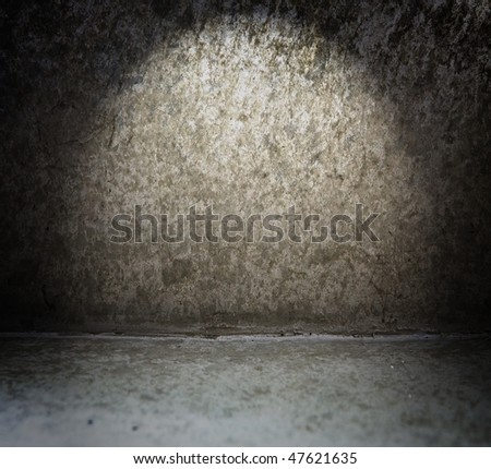 Grungy and weathered wall and floor - stock photo