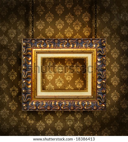 Grungy antique wallpaper background with frame
