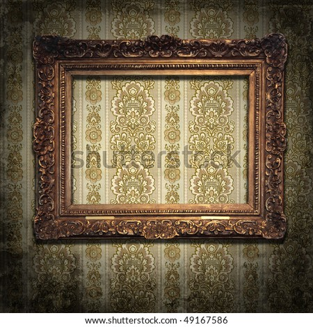 Grungy antique wallpaper background with frame - stock photo