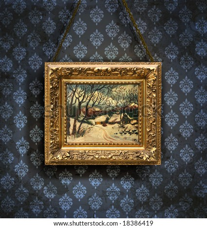 Grungy antique wallpaper background with framed painting - stock photo