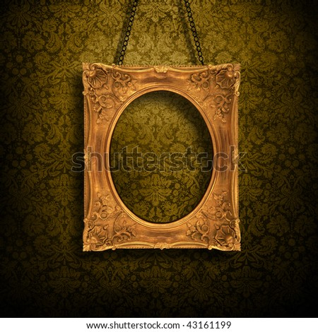 Grungy antique wallpaper background with golden frame - stock photo