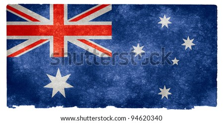 Grungy Australian Flag on Vintage Paper - stock photo