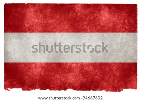 Grungy Austrian Flag on Vintage Paper - stock photo