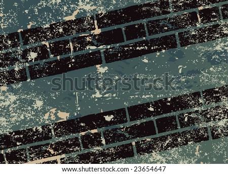 Grungy background and automobile tracks illustration raster - stock photo