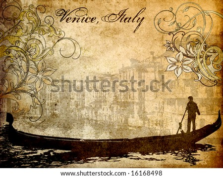 Grungy background image of Venice, Italy - stock photo