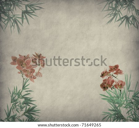 Grungy Background.old paper with orchids and bamboo leaves on old grunge antique paper texture - stock photo