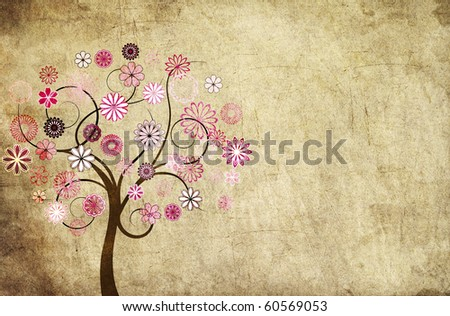 Grungy background with a flowery tree - stock photo