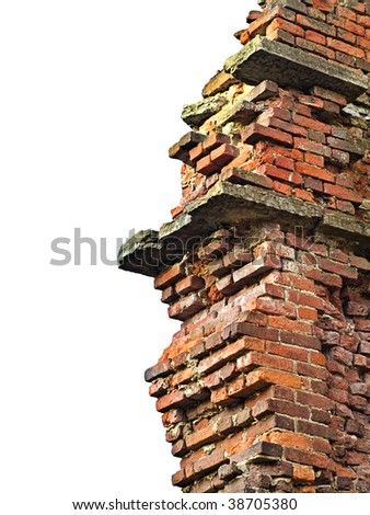 Grungy background with remains of ancient brick wall and white copyspace. Demolition works advertising. - stock photo