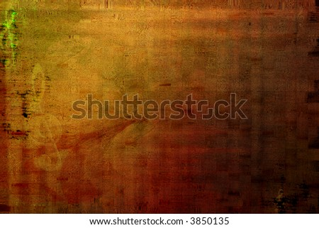 Grungy background with treble clefs - stock photo