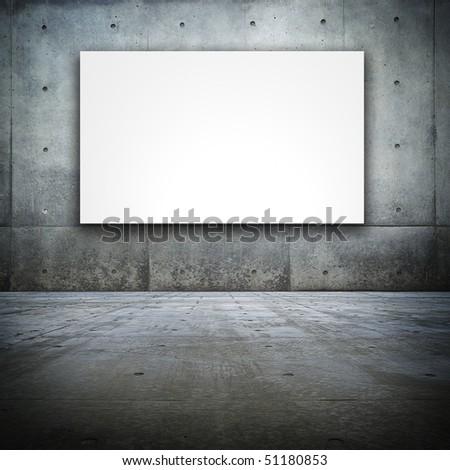 Grungy Bare concrete room with white screen board - stock photo