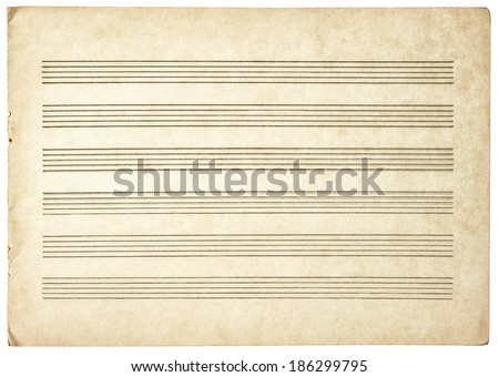 grungy blank paper sheet for musical notes isolated on white background - stock photo