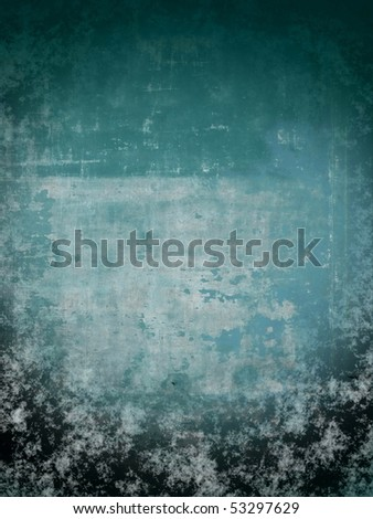 grungy blue aging wall background. More of this  motif & more backgrounds in my port. - stock photo