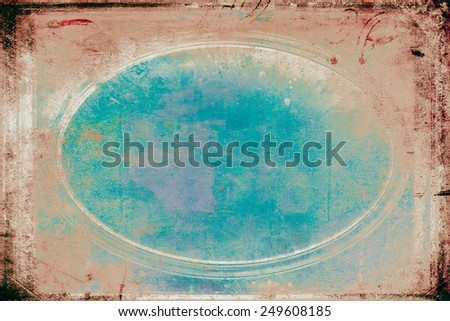 Grungy blue / brown oval frame - stock photo