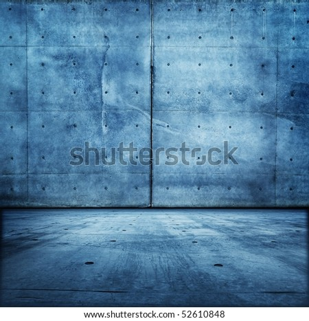 Grungy blue concrete room. - stock photo