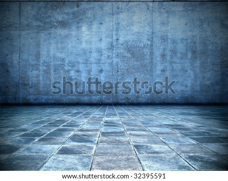 grungy blue room - stock photo